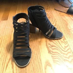 Strappy Booties. Black suede. Size 8.5 wide